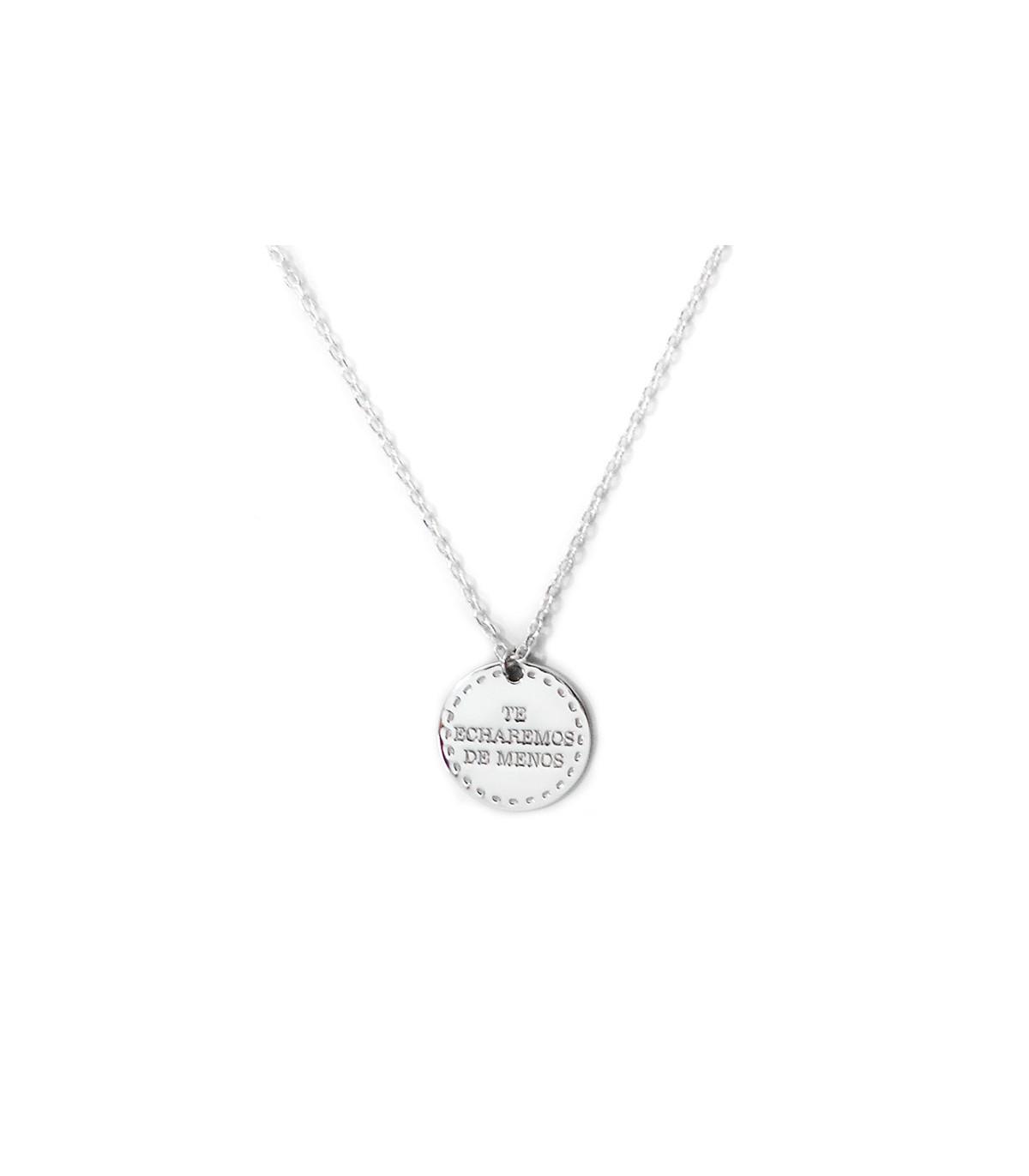 02aee01e9c23 Collar de plata personalizado Base con medalla para grabar. Joyas ...