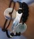 Pulsera personalizada de plata y cuero para hombre