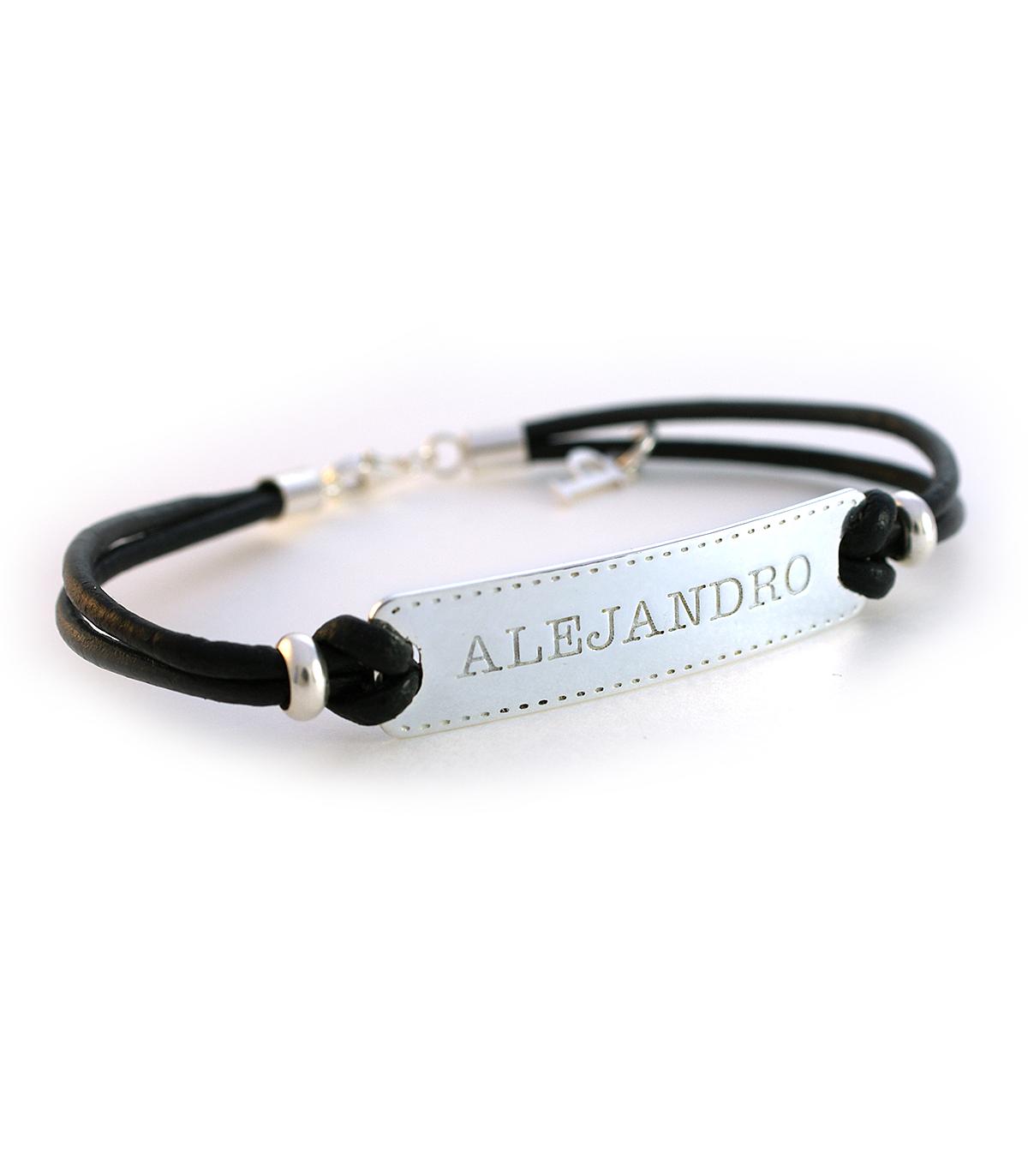 7c9998000047 Pulseras de cuero y plata personalizadas – Nome - Joyas de moda para ...