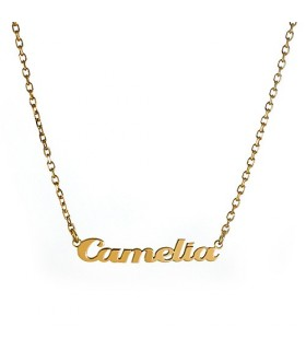 collar personalizado nome de plata chapado en oro