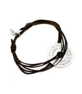 pulsera personalizada de plata grabada Rondella Nylon