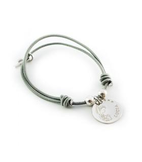pulsera personalizada de plata grabada virgen niña comunion