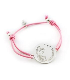 pulsera personalizada de plata grabada con nombre y virgen niña para comunion