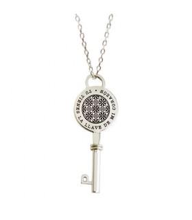 Collar de plata personalizado Key con llave grabada
