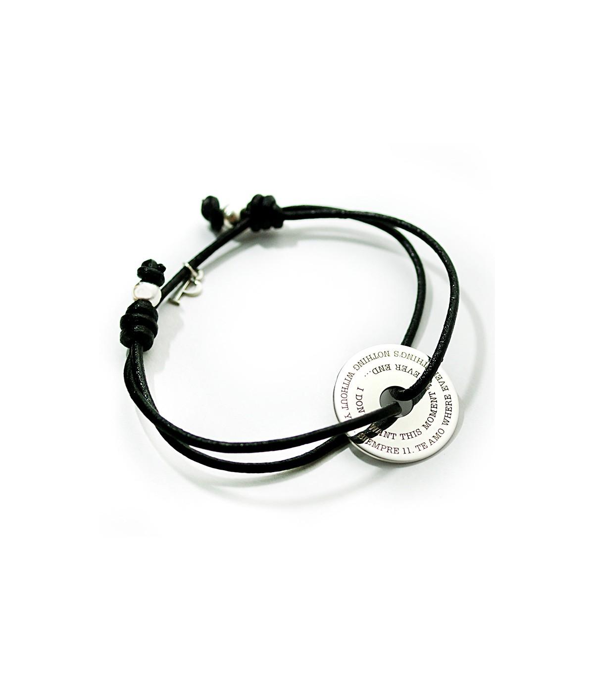 c5e3292add10 Pulseras de cuero y plata personalizadas – Rondella cuero - Joyas de ...
